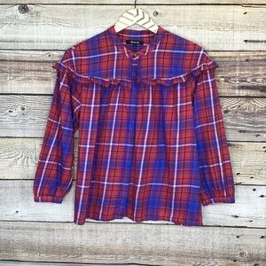 Madewell Plaid Ruffle Shirt XS Blue Red 0656